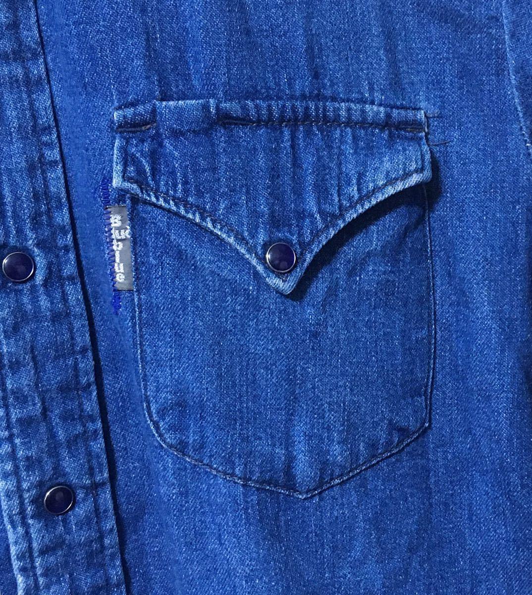 BLUE BLUE ブルーブルー 長袖 デニム素材 ウエスタンシャツ ハリウッドランチマーケット 裏地ポケット サイズ 1 日本製_画像4