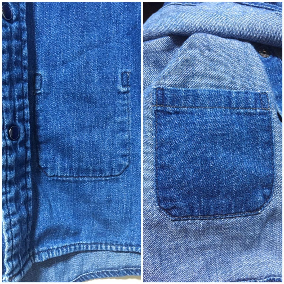 BLUE BLUE ブルーブルー 長袖 デニム素材 ウエスタンシャツ ハリウッドランチマーケット 裏地ポケット サイズ 1 日本製_画像7