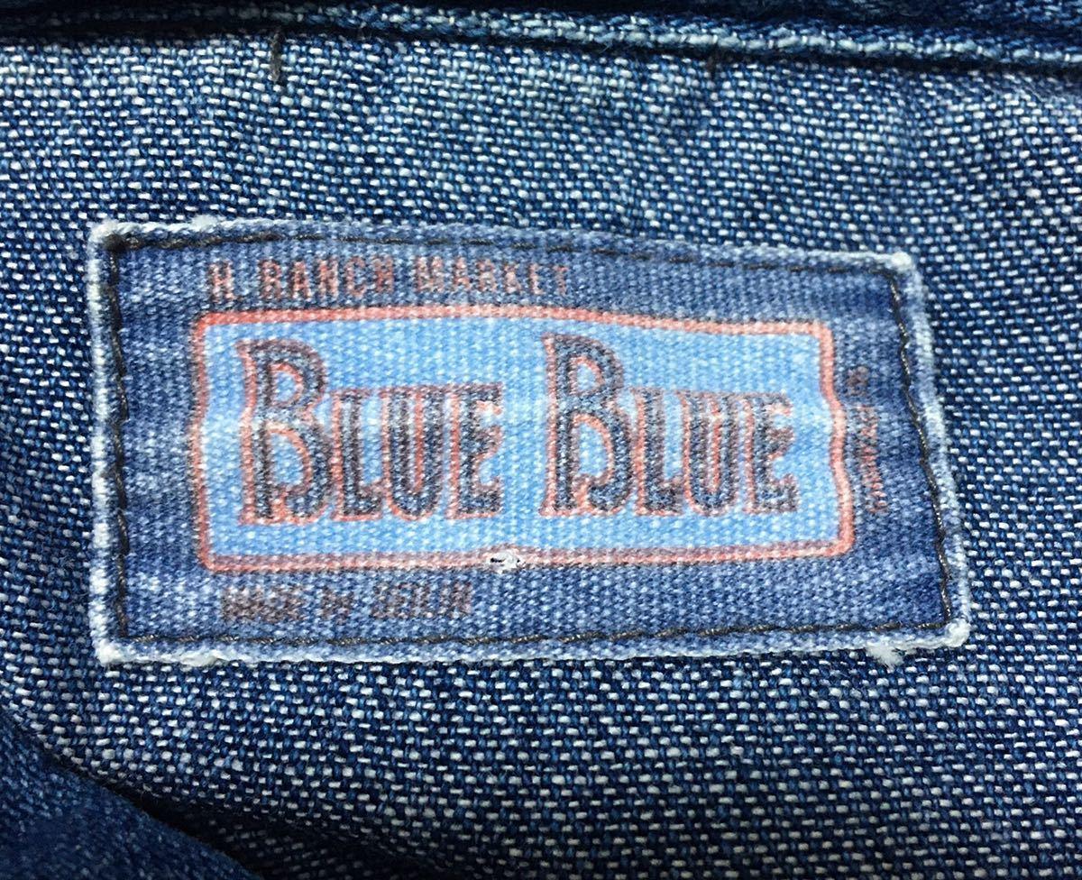 BLUE BLUE ブルーブルー 長袖 デニム素材 ウエスタンシャツ ハリウッドランチマーケット 裏地ポケット サイズ 1 日本製_画像8