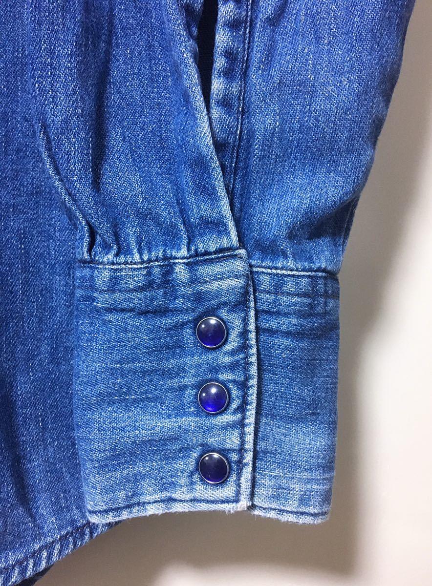 BLUE BLUE ブルーブルー 長袖 デニム素材 ウエスタンシャツ ハリウッドランチマーケット 裏地ポケット サイズ 1 日本製_画像6