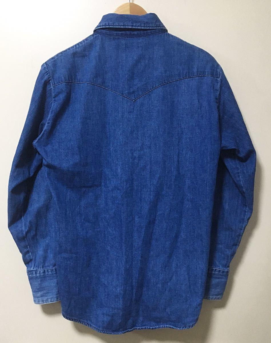 BLUE BLUE ブルーブルー 長袖 デニム素材 ウエスタンシャツ ハリウッドランチマーケット 裏地ポケット サイズ 1 日本製_画像2