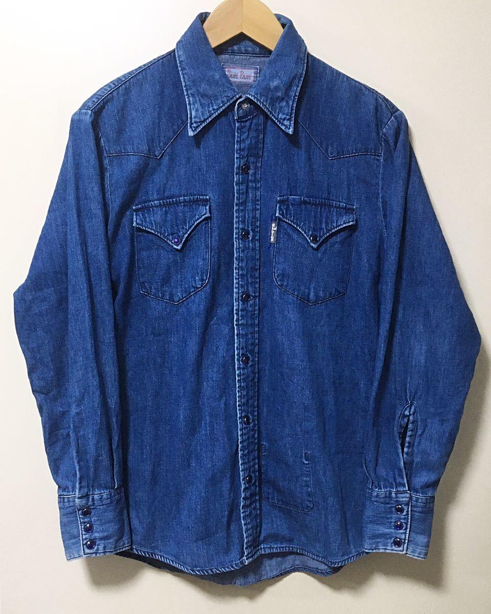 BLUE BLUE ブルーブルー 長袖 デニム素材 ウエスタンシャツ ハリウッドランチマーケット 裏地ポケット サイズ 1 日本製_画像1