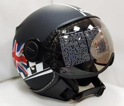ZEUS MOMOスタイル パイロットヘルメット DD28 イギリス国旗 艶消し黒 XL(M、L相当)_画像3