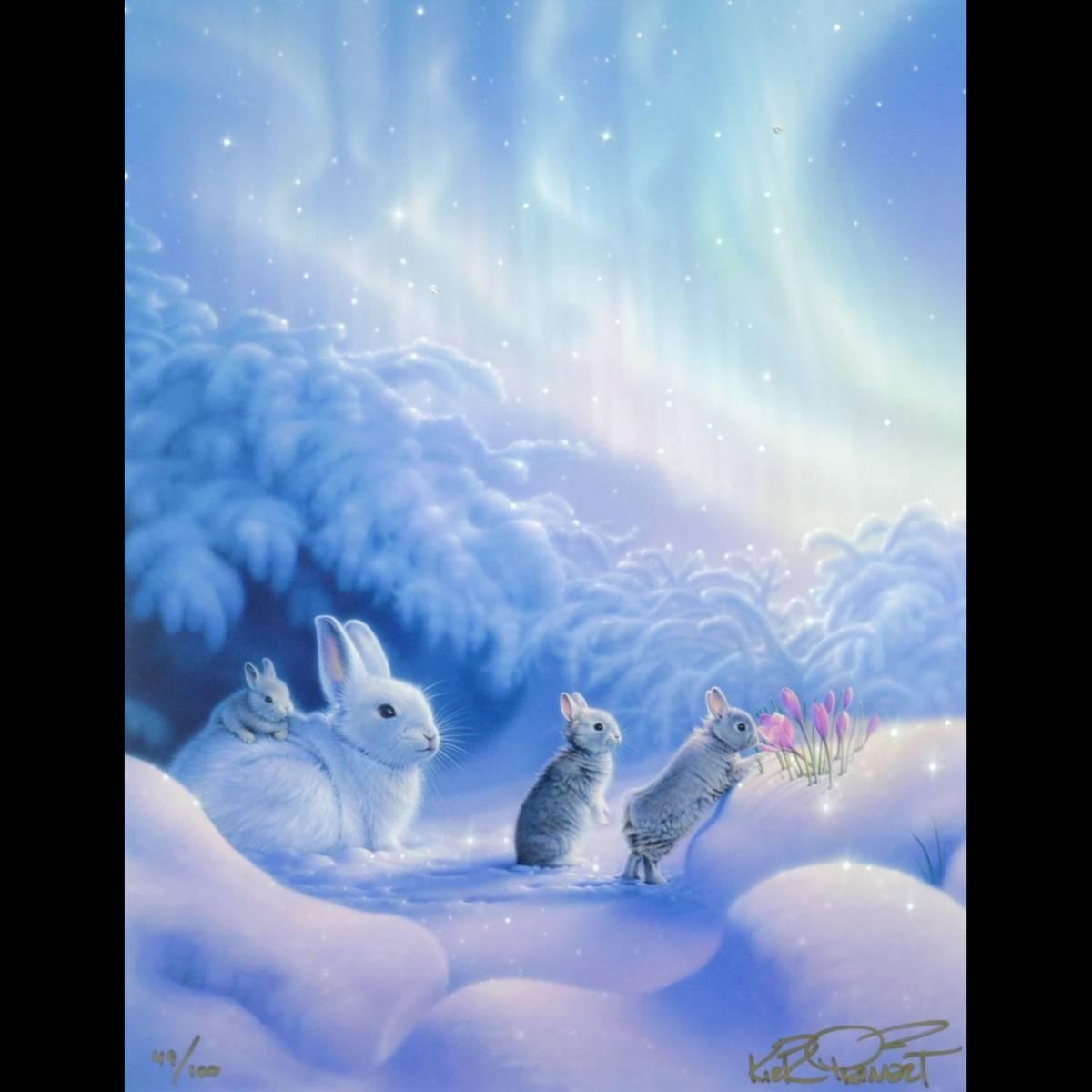 ◆廻◆ 真作保証 カーク・レイナート 「スナグルバニーズ」 シバクローム 49/100 直筆サイン 保証書付 T[N180]SR/11ET/(120)