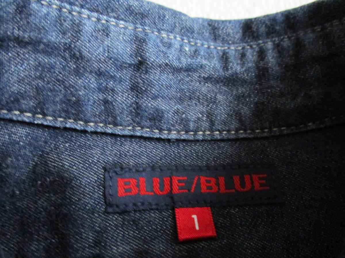 美品★ レディース 1 S ブルーブルー・BLUE BLUE★ 長袖パッチワークデニムシャツ★ ハリウッドランチマーケット 日本製 _画像2