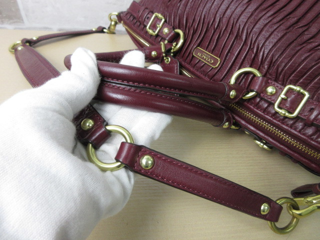 極美品■コーチ COACH■2way ハンドバッグ ショルダー バッグ レザー ギャザー ボルドー マディソン オシャレ鞄 ag6157