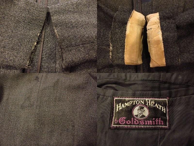 ビンテージ30's★HAMPTON HEATH 2Bスーツスリーピースグレー★191222s4-m-suit 1930sセットアップウールメンズ_画像4