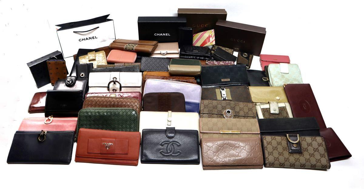 ブランド財布など 60個以上 まとめ売り ブランド品 エルメス シャネル GUCCI プラダ ボッテガヴェネタ  ブルガリ フェラガモ
