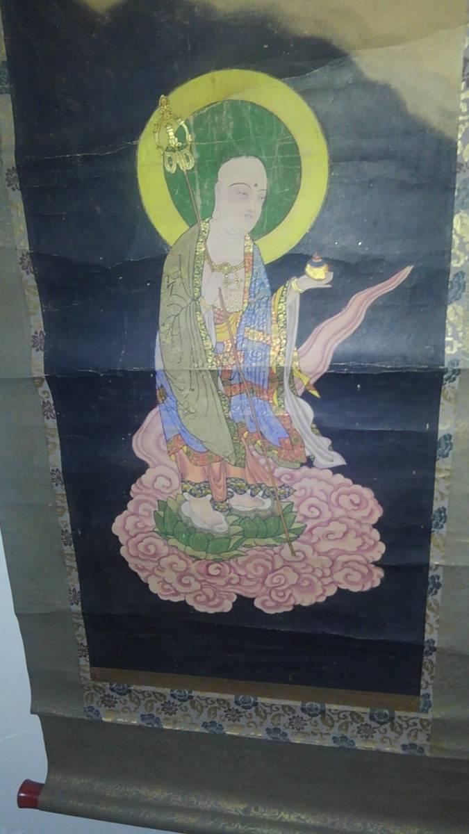 古い仏画 掛軸 B_画像1