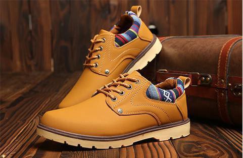 【新品】 27 cm イエロー 黄色 スニーカー メンズ 紳士 靴 ビジネス カジュアル 防水 PU レザー プレーントー シューズ #281_画像4
