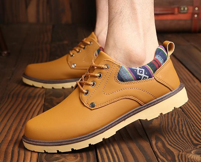 【新品】 27 cm イエロー 黄色 スニーカー メンズ 紳士 靴 ビジネス カジュアル 防水 PU レザー プレーントー シューズ #281_画像2