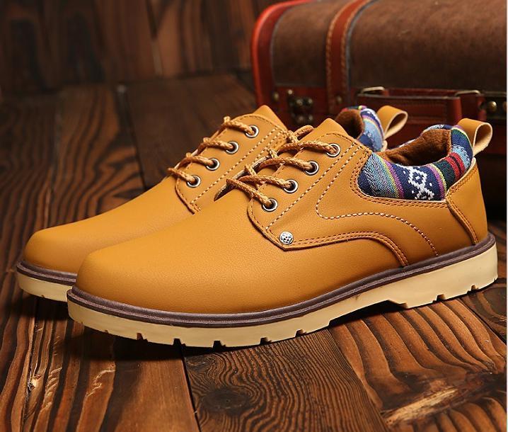 【新品】 27 cm イエロー 黄色 スニーカー メンズ 紳士 靴 ビジネス カジュアル 防水 PU レザー プレーントー シューズ #281_画像3