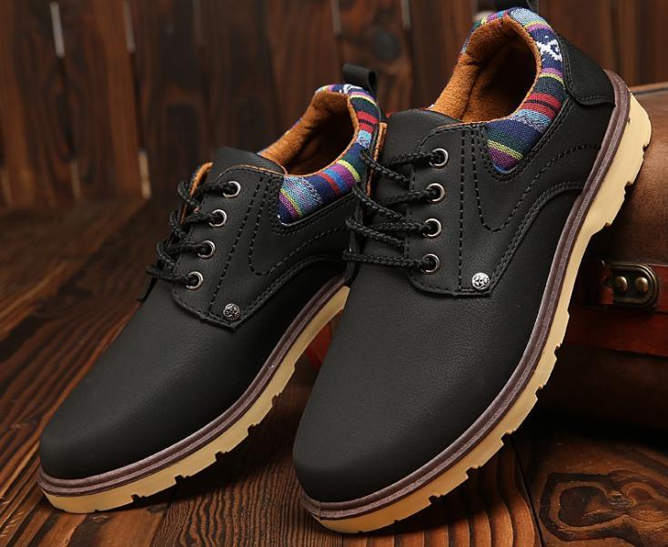 【新品】 26cm ブラック 黒 スニーカー メンズ 紳士 靴 ビジネス カジュアル 防水 レースアップ PU レザー プレーントー シューズ #281_画像1