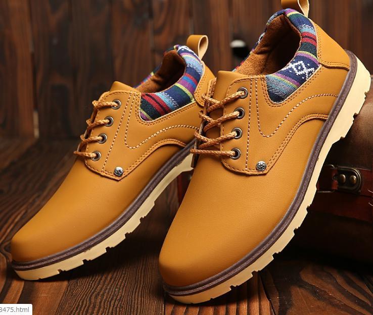 【新品】 27 cm イエロー 黄色 スニーカー メンズ 紳士 靴 ビジネス カジュアル 防水 PU レザー プレーントー シューズ #281_画像1