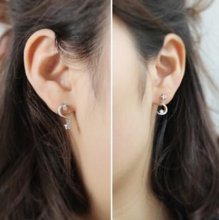 B80 1円~ 新品 銀シルバー ファッション 星と月のクリスタルピアス 左右対称でないイヤリング 揺ら揺らイヤリング 女性_画像8