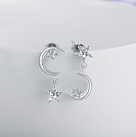 B80 1円~ 新品 銀シルバー ファッション 星と月のクリスタルピアス 左右対称でないイヤリング 揺ら揺らイヤリング 女性_画像2