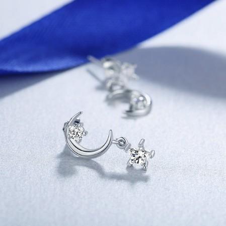 B80 1円~ 新品 銀シルバー ファッション 星と月のクリスタルピアス 左右対称でないイヤリング 揺ら揺らイヤリング 女性_画像10