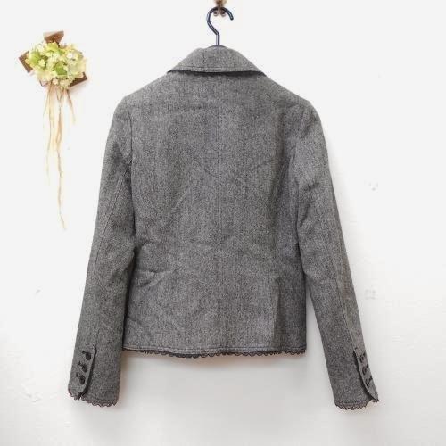 全日本婦人子供服工業組合連合会 レディース ウール混 9号 縁取り レース が綺麗な ジャケット フォーマルにも グレー系 入学式_画像6