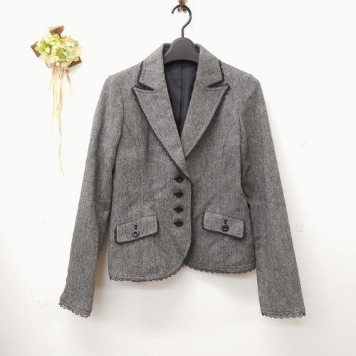 全日本婦人子供服工業組合連合会 レディース ウール混 9号 縁取り レース が綺麗な ジャケット フォーマルにも グレー系 入学式_画像1