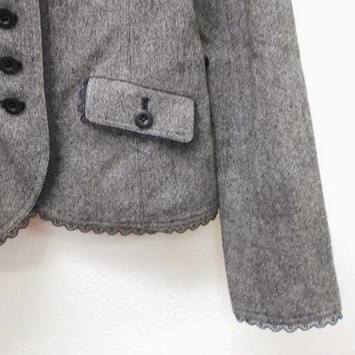 全日本婦人子供服工業組合連合会 レディース ウール混 9号 縁取り レース が綺麗な ジャケット フォーマルにも グレー系 入学式_画像3
