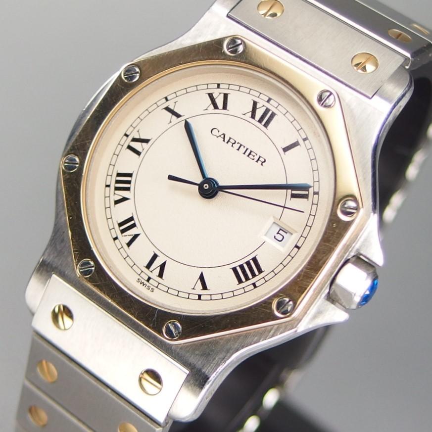 【美品 YGコンビ】 CARTIER カルティエ Santos de Cartier Octagon サントス オクタゴン K18YGxSS QZ デイト メンズ 腕時計