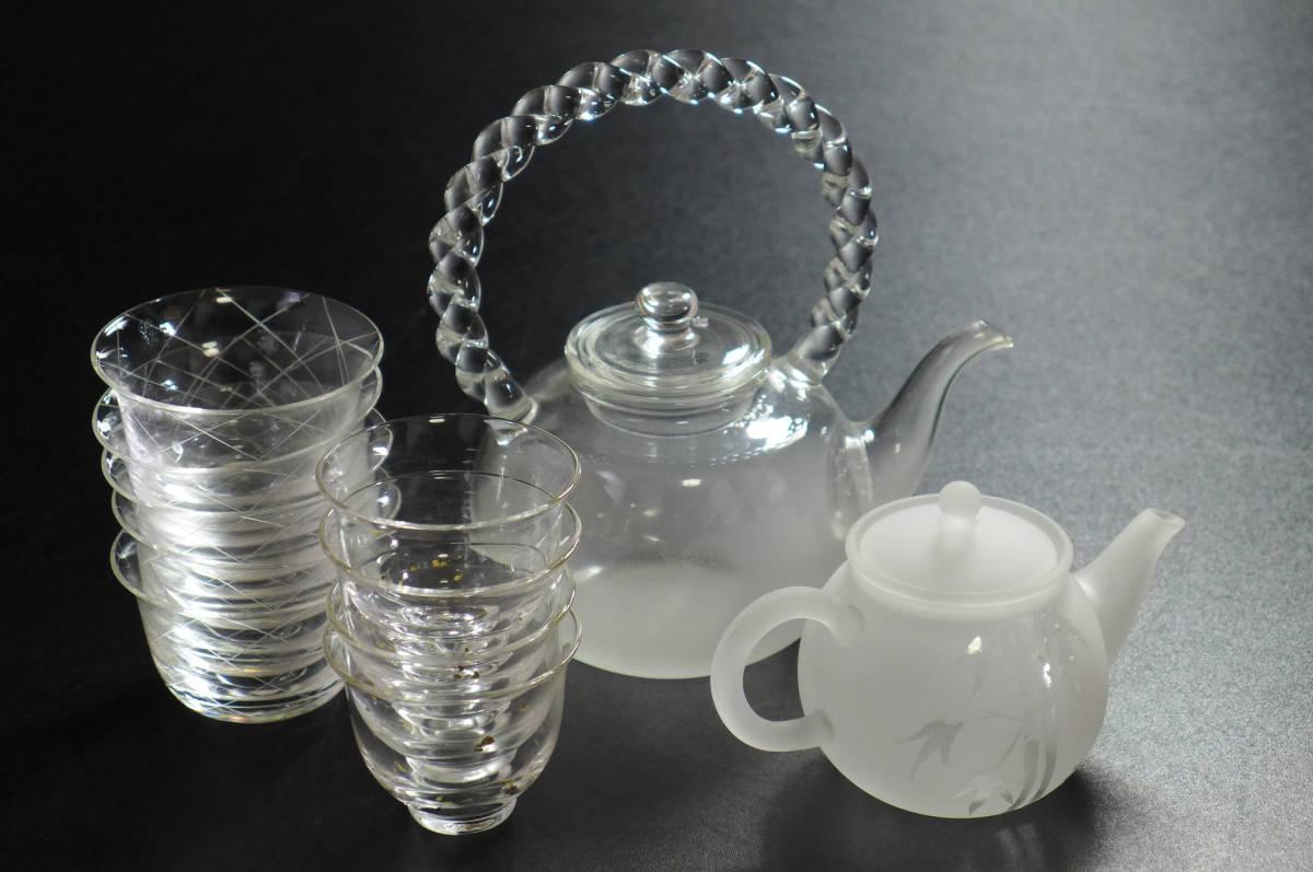 煎茶道具 ガラス 硝子 急須 煎茶碗/検鉄瓶茶心壷茶入茶器