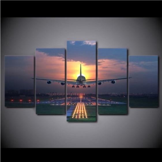 ★☆【大人気!!激安!!!】 飛行機 航空機 ジェット機 キャンバス アートポスター 夕日 壁紙 フレーム Frame10x15 10x20 10x25cm☆★_画像2