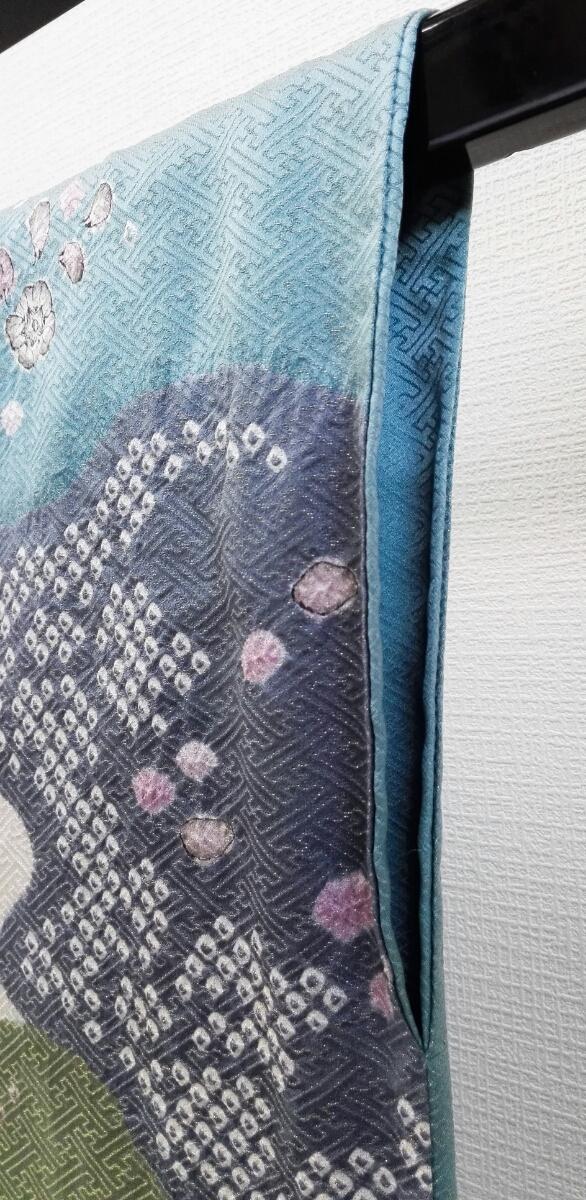 着物 訪問着 正絹 辻が花しぼり 落款 金糸 トルコブルー グレー モスグリーン 雲 花 ★03B-150_画像6