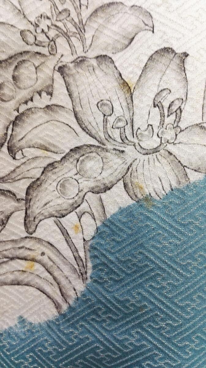 着物 訪問着 正絹 辻が花しぼり 落款 金糸 トルコブルー グレー モスグリーン 雲 花 ★03B-150_画像10