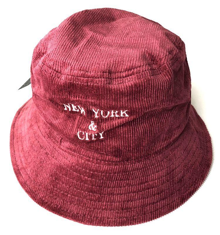 新品 未使用品 ニューヨークシティロゴ コーデュロイ バケットハット  帽子 HAT ワイン NEW YORK & CITY 新品大幅定価割れ 柳2199_画像1