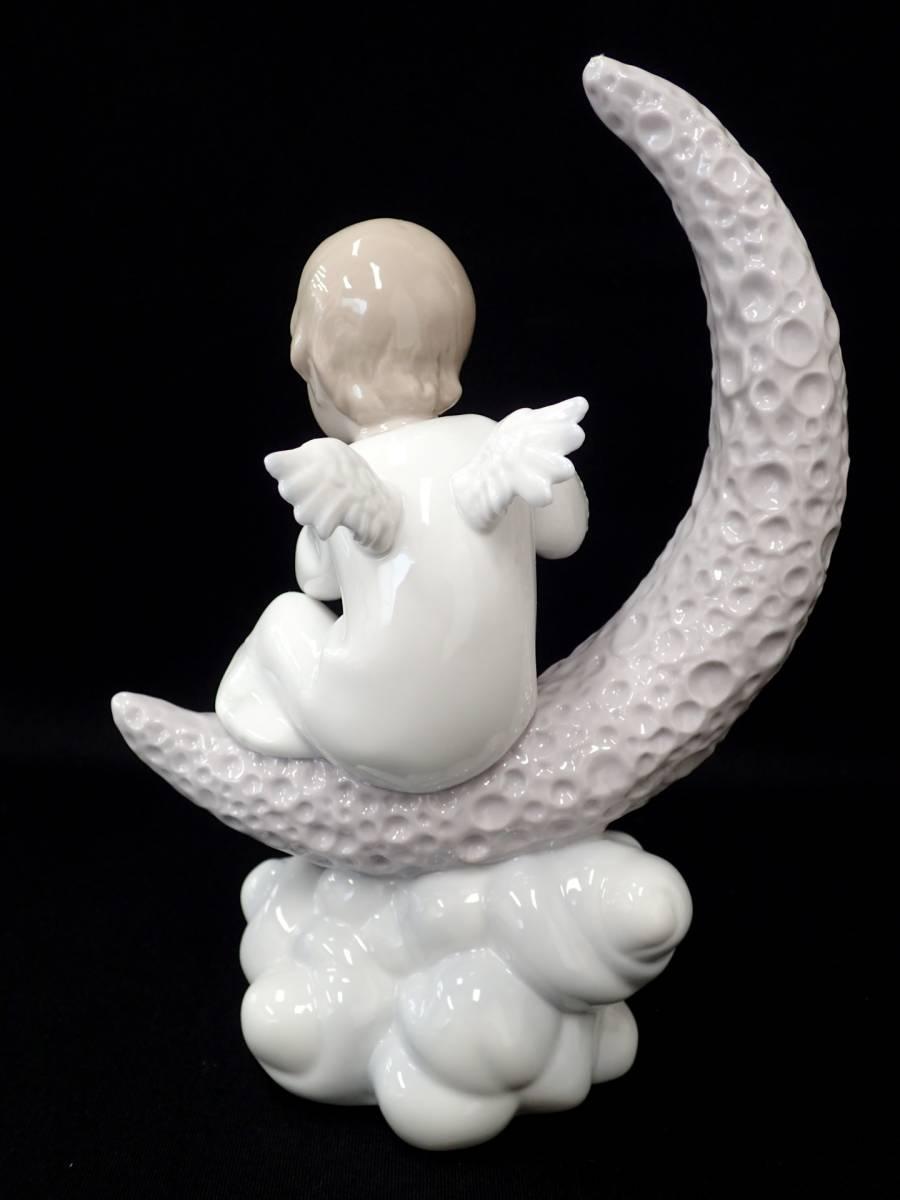 絶版/箱付◆LLADRO/リヤドロ◆フィギュリン No.6839 『月で一休み』 陶器の置物/天使 男の子 望遠鏡[T]