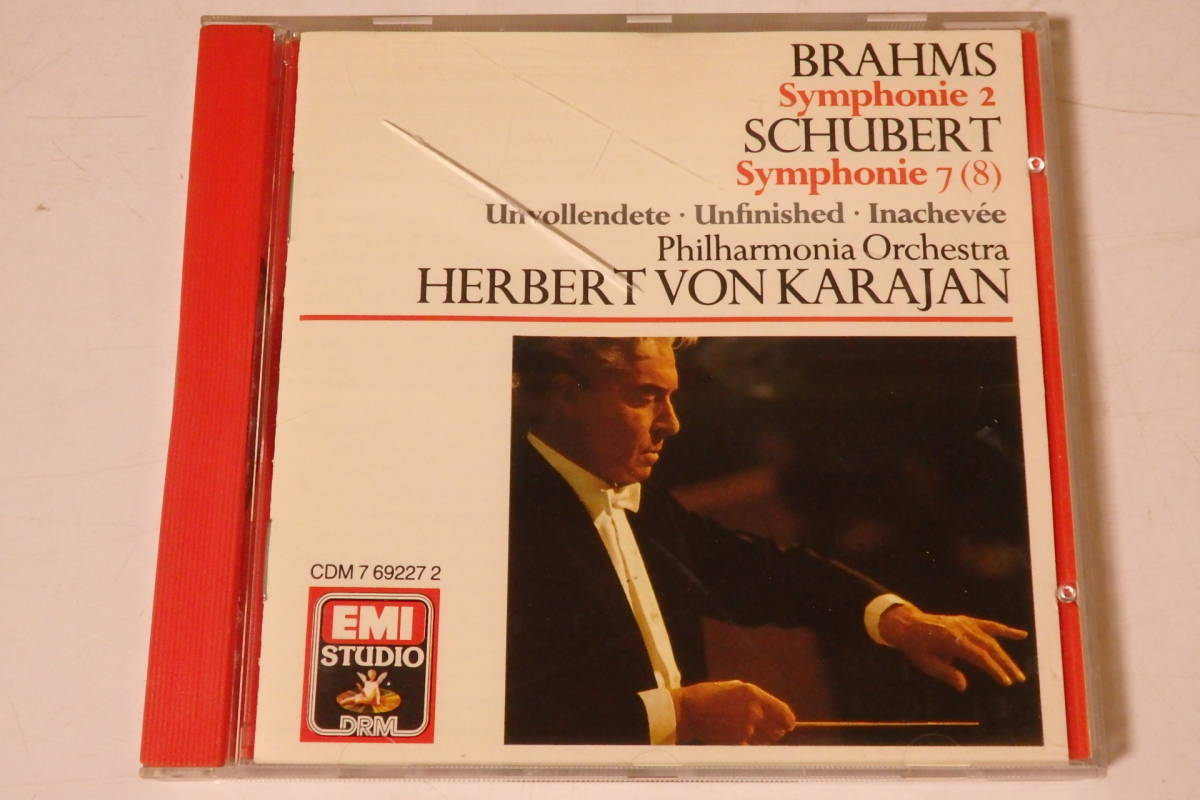 303 クラシック CD ブラームス 交響曲第2番 シューベルト 交響曲第8番「未完成」カラヤン ピアノ ヴァイオリン 交響曲 管弦楽 協奏曲_画像1