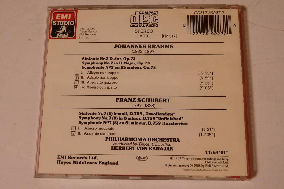 303 クラシック CD ブラームス 交響曲第2番 シューベルト 交響曲第8番「未完成」カラヤン ピアノ ヴァイオリン 交響曲 管弦楽 協奏曲_画像2