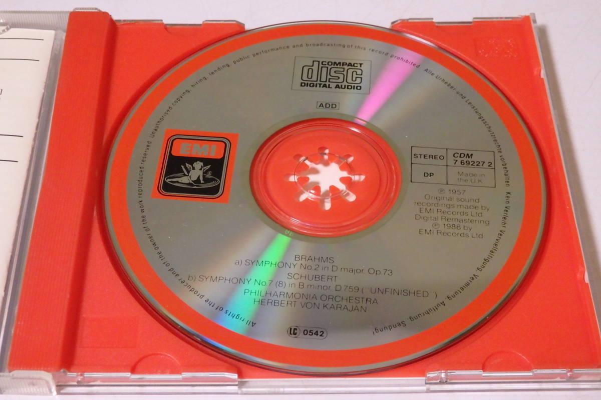 303 クラシック CD ブラームス 交響曲第2番 シューベルト 交響曲第8番「未完成」カラヤン ピアノ ヴァイオリン 交響曲 管弦楽 協奏曲_画像3
