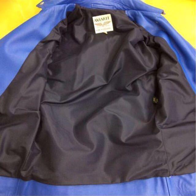 廃盤☆lewis leathers ルイスレザー 402T ライトニング タイトフィット カウハイド レザー ライダース ジャケット 32 メンズ ブルー 青_画像6
