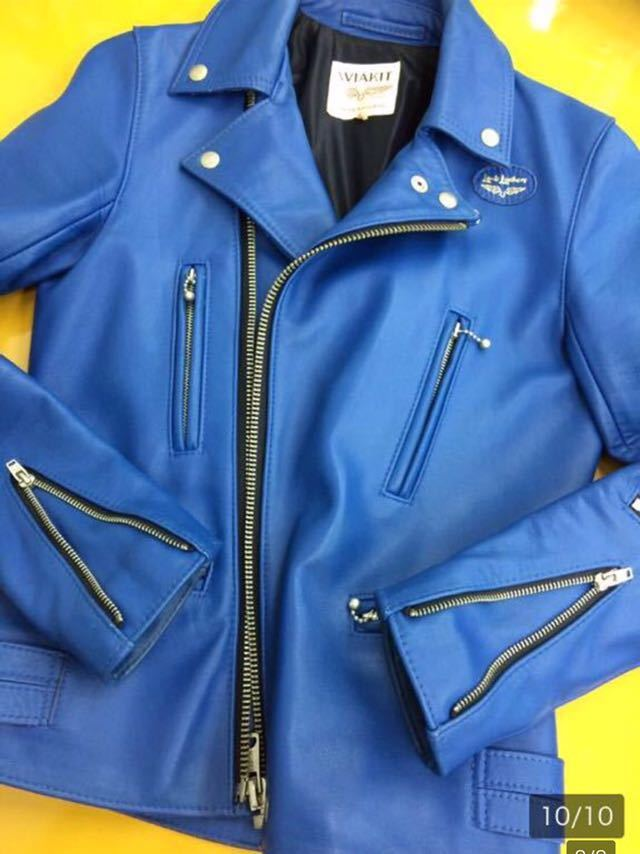 廃盤☆lewis leathers ルイスレザー 402T ライトニング タイトフィット カウハイド レザー ライダース ジャケット 32 メンズ ブルー 青_画像8