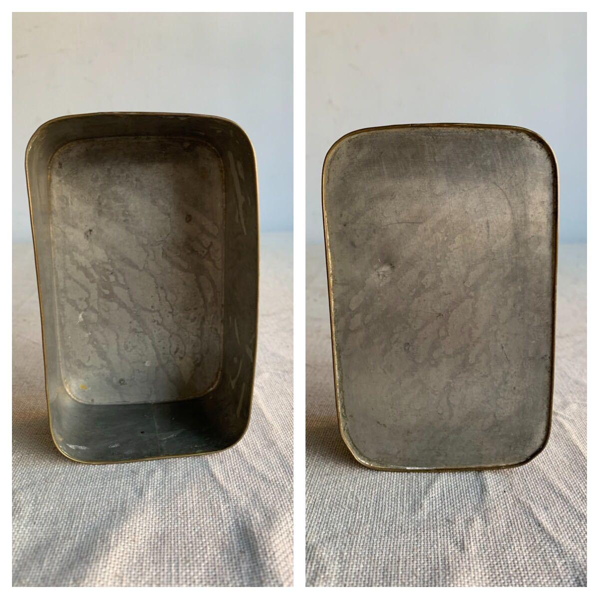 古い真鍮製の入れ子箱2個セット ケース収納旧家蔵出レトロ古民家古道具古物骨董アンティークビンテージシャビーインテリアディスプレイ整理_画像9