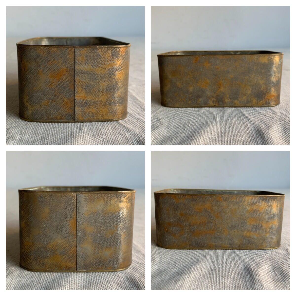 古い真鍮製の入れ子箱2個セット ケース収納旧家蔵出レトロ古民家古道具古物骨董アンティークビンテージシャビーインテリアディスプレイ整理_画像8