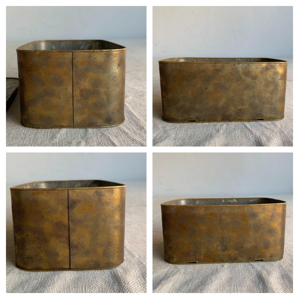古い真鍮製の入れ子箱2個セット ケース収納旧家蔵出レトロ古民家古道具古物骨董アンティークビンテージシャビーインテリアディスプレイ整理_画像5