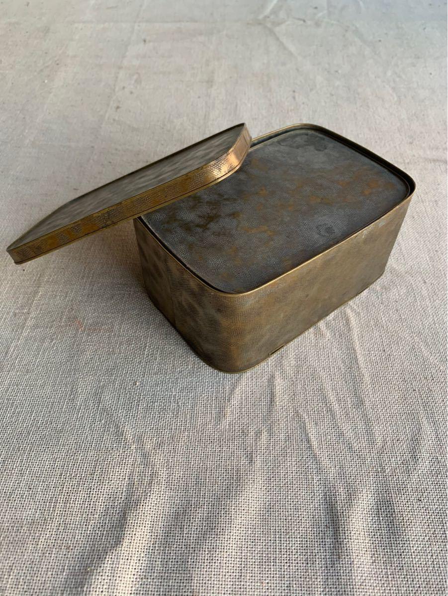 古い真鍮製の入れ子箱2個セット ケース収納旧家蔵出レトロ古民家古道具古物骨董アンティークビンテージシャビーインテリアディスプレイ整理_画像4