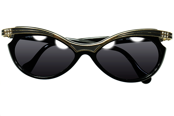 真骨頂CLASSICモードデザイン1970s-80s ITALY製デッドストックYSLイブサンローランFOX型サングラス BLACKxGOLD デザイナーズ ヴィンテージ_画像2