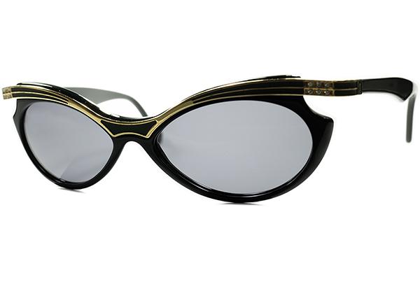 真骨頂CLASSICモードデザイン1970s-80s ITALY製デッドストックYSLイブサンローランFOX型サングラス BLACKxGOLD デザイナーズ ヴィンテージ_画像1