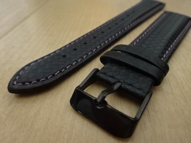 腕時計用ベルト カーボン柄ラバー 20mm 黒/紫ステッチ ブラック/パープルステッチ バンド_画像2