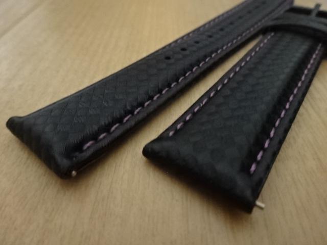 腕時計用ベルト カーボン柄ラバー 20mm 黒/紫ステッチ ブラック/パープルステッチ バンド_画像3