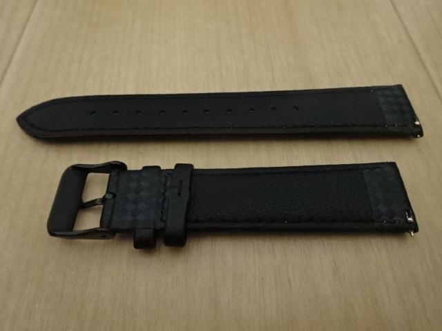 腕時計用ベルト カーボン柄ラバー 20mm 黒/紫ステッチ ブラック/パープルステッチ バンド_画像4