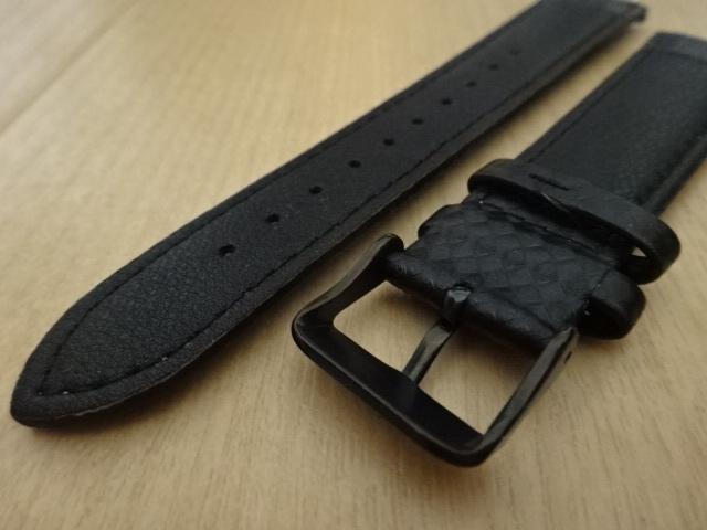 腕時計用ベルト カーボン柄ラバー 20mm 黒/紫ステッチ ブラック/パープルステッチ バンド_画像5