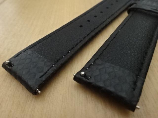 腕時計用ベルト カーボン柄ラバー 20mm 黒/紫ステッチ ブラック/パープルステッチ バンド_画像6