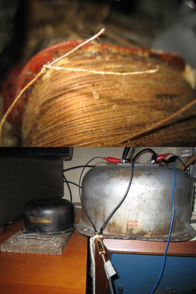 #~【 ウエスタンの最高峰 1910's WE純正単線 】長さ125cm RCAケーブル Western Electric_下:マニア憧れのライントランス(左)比較