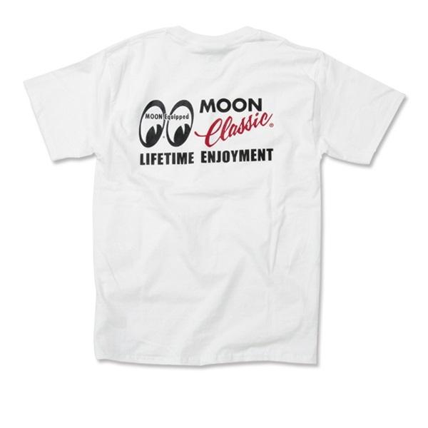 Mサイズ MOONEYES MOON Classic Logo ポケット Tシャツ ムーンアイズ ホワイト ポケット付き クラシック 車 バイク がお好きな方にぜひ_画像6