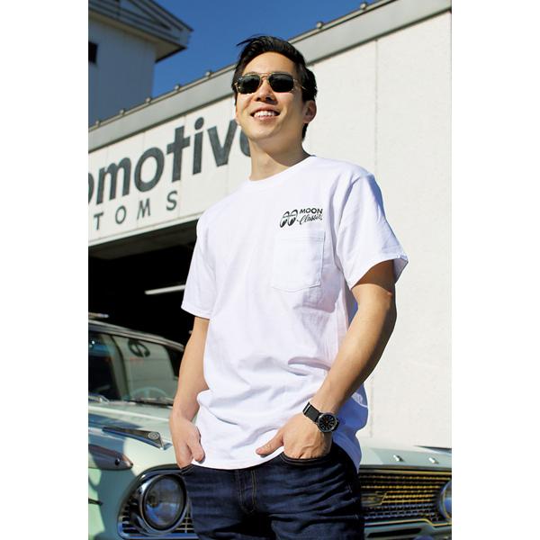 Mサイズ MOONEYES MOON Classic Logo ポケット Tシャツ ムーンアイズ ホワイト ポケット付き クラシック 車 バイク がお好きな方にぜひ_画像2